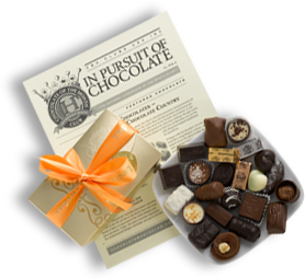 chocolate of the month club truffles on plate with newsletter
